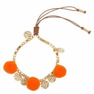 Milou-choice-Magentashop-armband-pompon-oranje-en-14k-goud