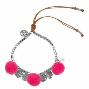 Milou-choice-Magentashop-armband-pompon-roze-en-14k-wit-goud